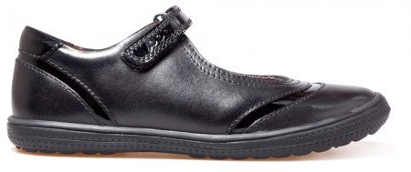 POD Dana Black Leather School Shoes