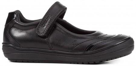 Geox Hadriel Black Leather School Shoes