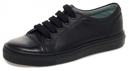 Petasil Peel Black School Shoes