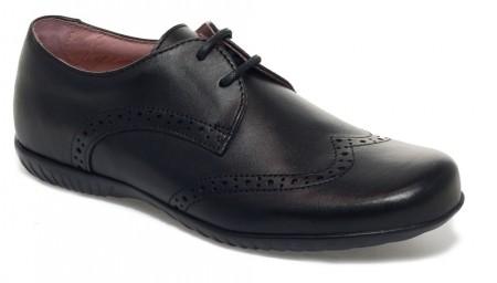 Petasil Emma Black Leather School Shoes