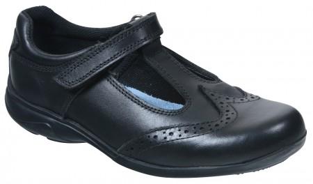 Term Janine T-bar Black School Shoes
