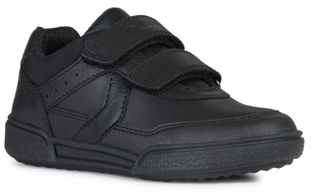 Geox Poseido Black Leather School Shoes