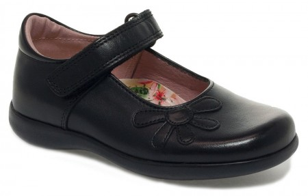 Petasil Bonnie Black Leather School Shoes