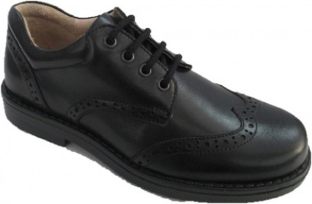 Petasil Moses Black Leather School Shoes