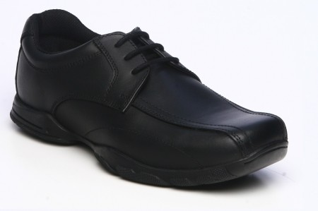 Term Vinny Black Leather School Shoes