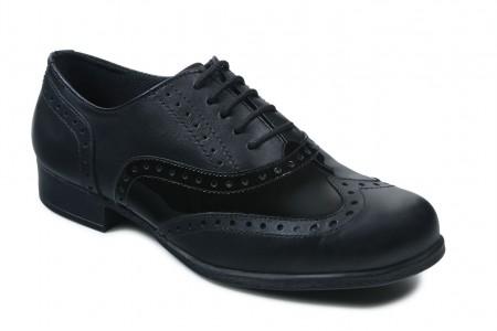 Term Bella Black Patent School Shoes