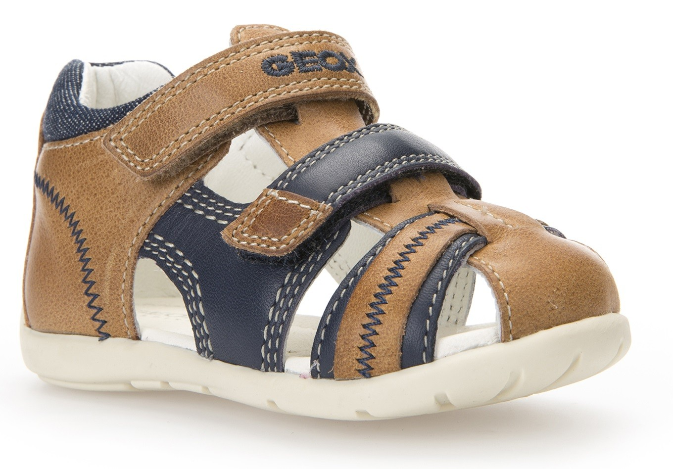 Geox Kaytan Caramel Navy Sandals Geox Kids Shoes