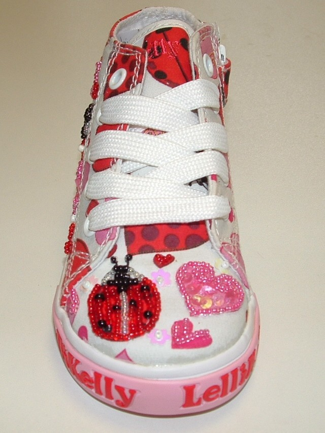 c739310b3ec9 Lelli Kelly Ladybird White Canvas Baseball Boots - Little Wanderers