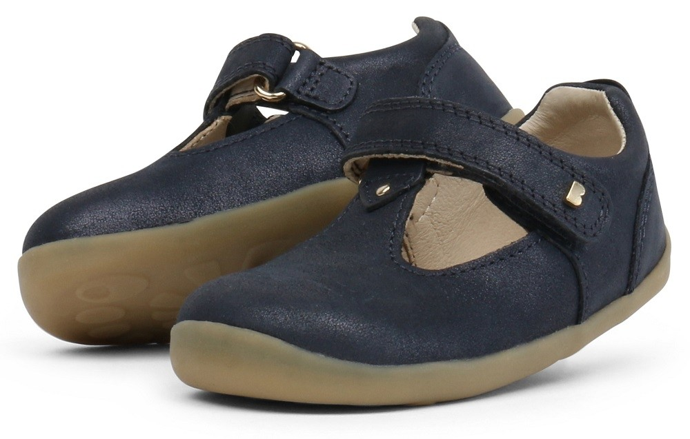 Bobux Step-up Louise T-Bar in Navy Shimmer with Suede accents New 2020