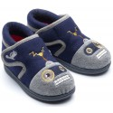 Chipmunks Robot Navy Grey Slippers