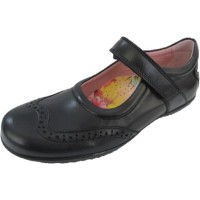 Petasil Expo 3 Black Leather School Shoes