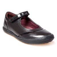 POD Dana Black Leather School Shoes