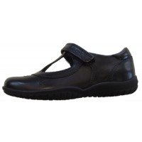 Geox Shadow T-bar Black School Shoes