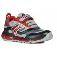 Geox Android Grey Red Trainers