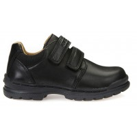 Geox William Black Leather School Shoes