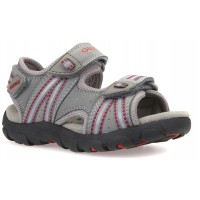 Geox Strada Grey Red Sandals