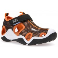 Geox Wader Black Orange Sandals