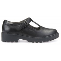 Geox Casey T-bar Black School Shoes