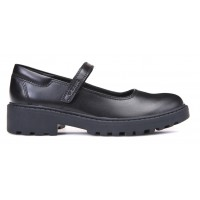 Geox Casey MJ Black Leather School Shoes