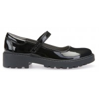 Geox Casey MJ Black Patent School Shoes