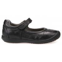 Geox Gioia Black Leather School Shoes