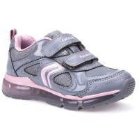 Geox Android Grey Pink Lights Trainers