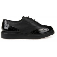 Geox Thymar Black Patent School Shoes
