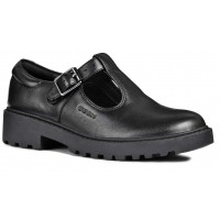 Geox Casey J8420E T-bar Black School Shoes