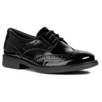 Geox Agata Black Patent Lace School Shoe