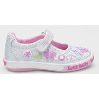Lelli Kelly Butterfly Silver Glitter Canvas Shoes