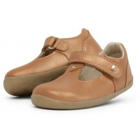 Bobux Step Up Louise Caramel Shimmer T-bar Shoes