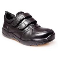 POD Parkin Black Leather School Shoes