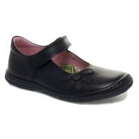 Petasil Donna Black Leather School Shoes