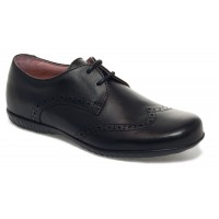 Petasil Emma Black Leather School Shoes