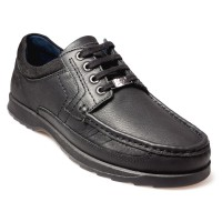 POD Rally Black Leather School Shoes