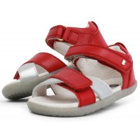 Bobux Step Up Sail Red Silver Sandals