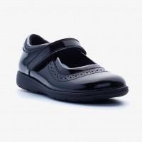 Term Vega Black Patent School Shoes