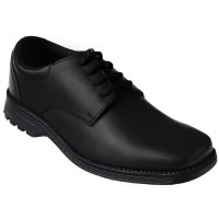 Term Tyson Black Leather School Shoes