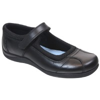 Term Victoria Black Leather School Shoes