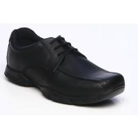 Term Vinny Black Leather School Shoes