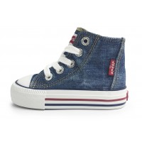 Levis Trucker Mini Hi Top Blue Baseball Boots