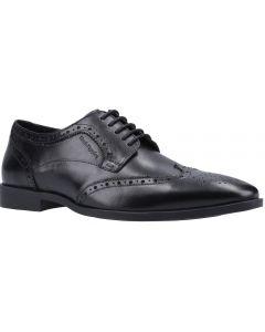 Hush Puppies Brace Brogue Black Leather School Shoes