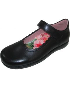 Petasil Blanche Black Leather School Shoes