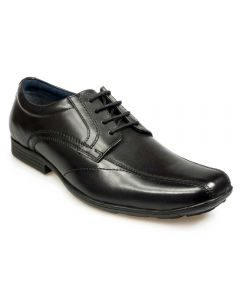 POD Angus Black Leather School Shoes