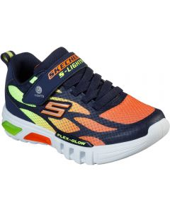 Skechers Flex Glow Dezlom Navy Orange Trainers