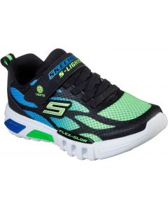 Skechers Flex Glow Dezlom Blue Lime Trainers