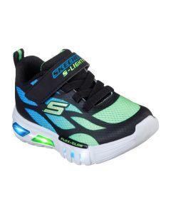 Skechers Flex Glow Dezlom Blue Lime Infant Trainers