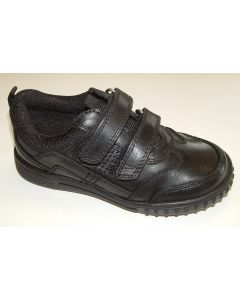 Hush Puppies Lionfish Black Leather School Shoes