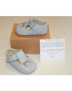 Ickle Shooz Pale Blue Embroidered Teddy Pram Shoes