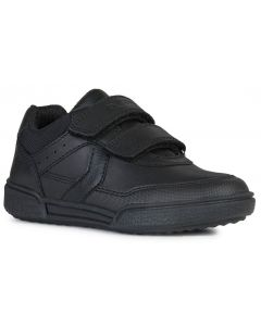 Geox Poseido Black Leather School Shoes